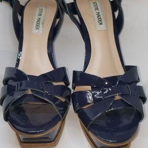 Steve Madden Blue Platform Open Toe Sandal sz 8.5